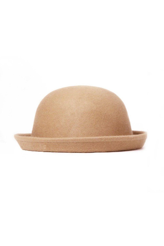 baf1d257ade Amazon.com   TOOGOO(R)Fashion Vintage Men Women Fedoras Dome Hat Roll Brim  Bowler Derby Hat Unisex Headwear Light tan   Sports   Outdoors