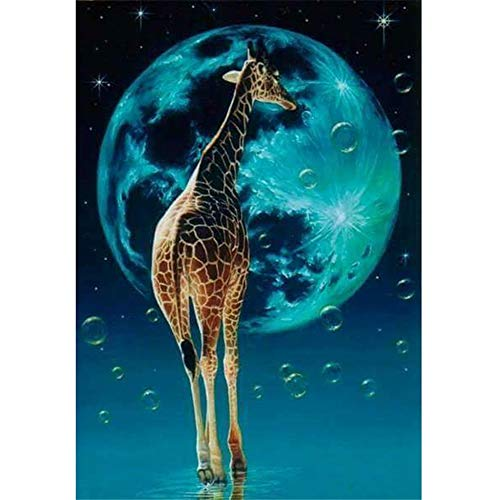 Blue Moon Resin Beads - LIPHISFUN DIY 5D Diamond Painting by Number Kit for Adult, Full Round Resin Beads Drill Diamond Embroidery Dotz Kit Home Wall Decor,30x40cm,Giraffe Blue Moon