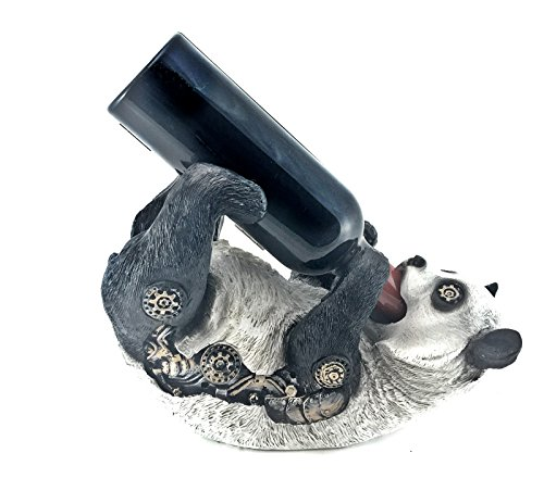 Bellaa 21734 Wine Bottle Holder Panda Statues Adorable Baby Steampunk Tabletop Decor by Bellaa