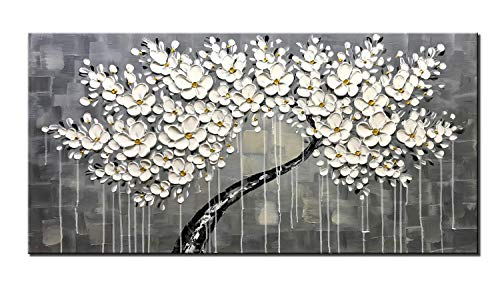 Diathou 100% Hand-Painted Abstract Oil Painting 3D arborescent White Flower Frame 24x48-inch Palette Knife Oil Painting Modern Home Decoration Convenient Hanging Decoration