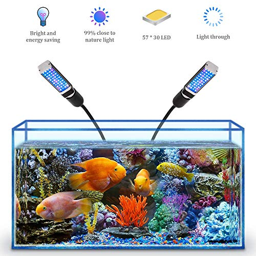 Bozily Aquarium Light for Coral Reef Aquatic Plants Growth Saltwater Freshwater, LED Desktop Fish Tank Light with 4…