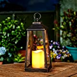 Outdoor Garden Candle Lantern - Battery Powered - Flickering Effect - Warm White LED - 33cm by Festive Lights (Bronze)