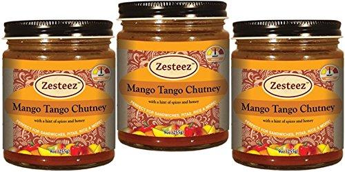 Zesteez Premium Mango Tango Chutney - 9oz (Pack of 3) Made in USA by Zesteez