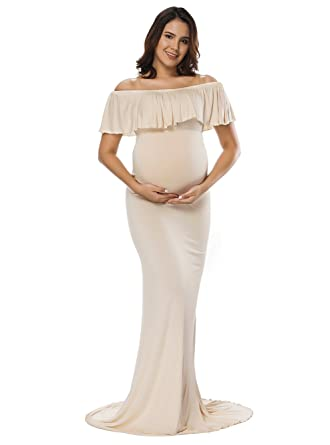 e67a71c3e962 JustVH Women's Off Shoulder Ruffles Maternity Slim Fitted Gown Maxi  Photography Dress Beige