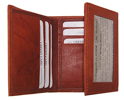 AG Wallets Men's Cowhide Leather Classic Trifold Wallet (Burgundy)