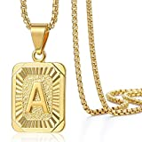 Trendsmax Initial Letter Pendant Necklace Mens Womens Capital Letter Yellow Gold Plated A Stainless Steel Box Chain 22inch