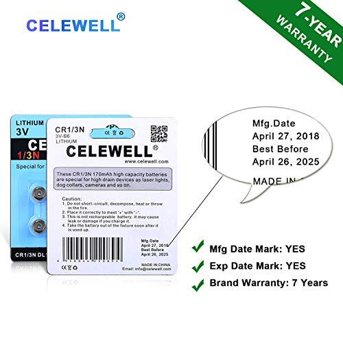 【7-Year Warranty】 CELEWELL 6 Pack DL1//3N 3V Lithium Battery 170mAh High Capacity for Laser Sights Same as CR1//3N CR 1//3N