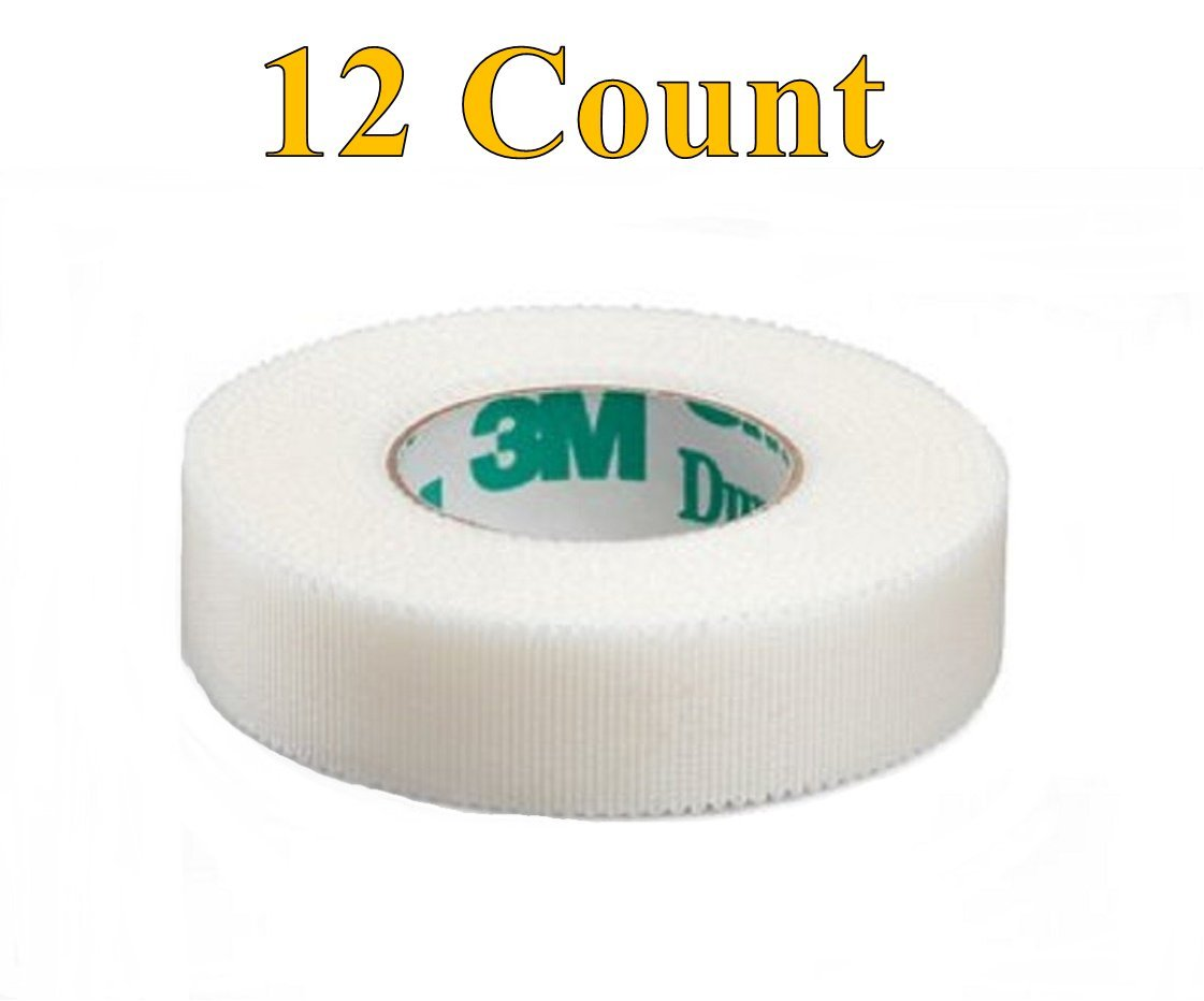 """3M Durapore Surgical Tape 1/2""""X10Yard Roll Silk Hypoallergenic - Pack of 12 Rolls - Model 1538-0"""