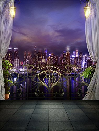 Leowefowa 5X7FT Vinyl New York City Night View Backdrop Sea View Room Metal Fence White Curtain Modern Building Shining Lights Vintage Marble Floor Photography Background Girl Lover Photo Studio Props ()