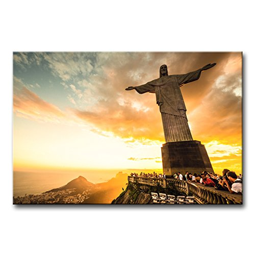 Wall Art Decor Poster Painting On Canvas Print Pictures Christ The Redeemer Statue At The Top Of Corcovado Mountain In Rio De Janeiro Portrait Statue Framed Picture For Home Decoration Living Room Artwork