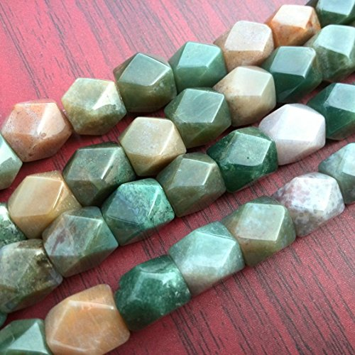 (Natural Indian Moss Agate Beads Chunky Nugget Stone Faceted Green Beads 15 inches)
