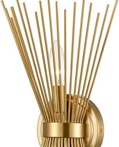 Brass 2-Light Vanity Light Mid-Century Modern Starburst Wall Sconce Lamp Sunburst Sconce Art Decor