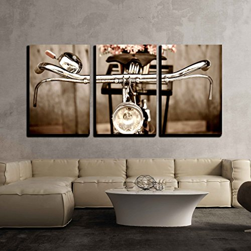 """wall26 - 3 Piece Canvas Wall Art - Old Bicycle and Flowers - Modern Home Decor Stretched and Framed Ready to Hang - 16""""x24""""x3 Panels from wall26"""