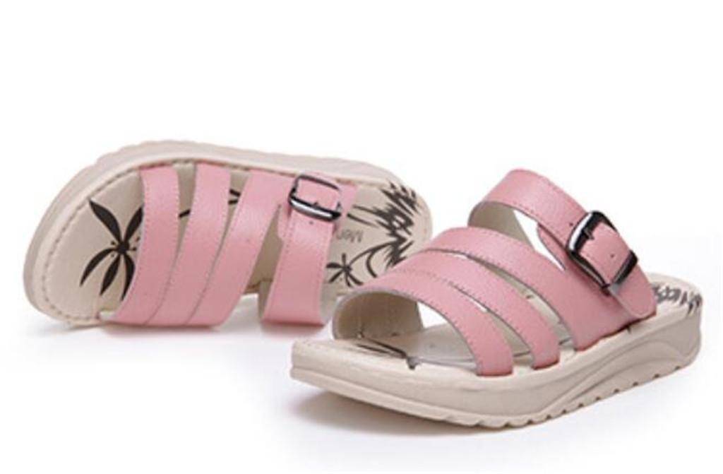 NVLXIE Weibliche Sandalen Sommer Leder Leder Sommer Dicke Untere Flache Unterseite Strand Kursteilnehmer Hausschuhe Einkaufen Drei Farben 3cm pink 75f6d0