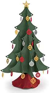 Lovepop Classic Tabletop Tree, Laser Cut Holiday Decor, Foldable, Storable, with Ornaments