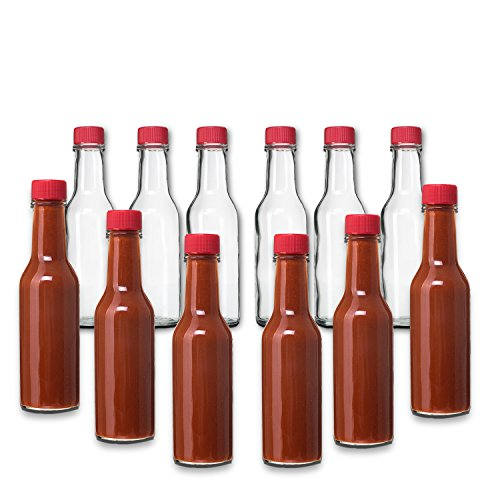 - 12 Pack - 5 Oz Hot Sauce Bottles, Small Empty Glass Bottles with RED Caps and Drip Dispensing Tops for Salsa, Pepper, Vinegar, Hot Sauce, Pepper Sauce, By Premium Vials