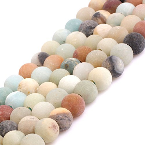 Natural Round Amazonite Stone Big Large Hole beads for Jewelry Making 15'' (8MM)
