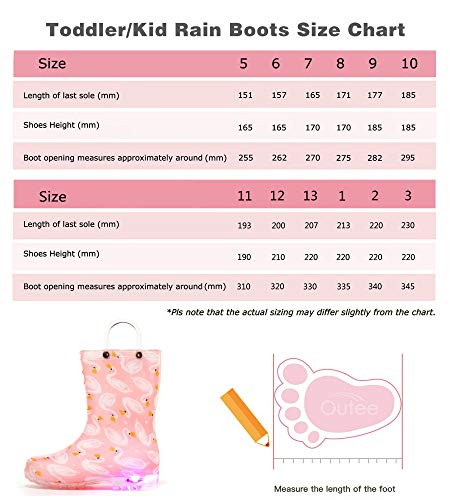 Pictures of Outee Toddler Girls Kids Light Up Rain GLP18ASWNPIN6 2