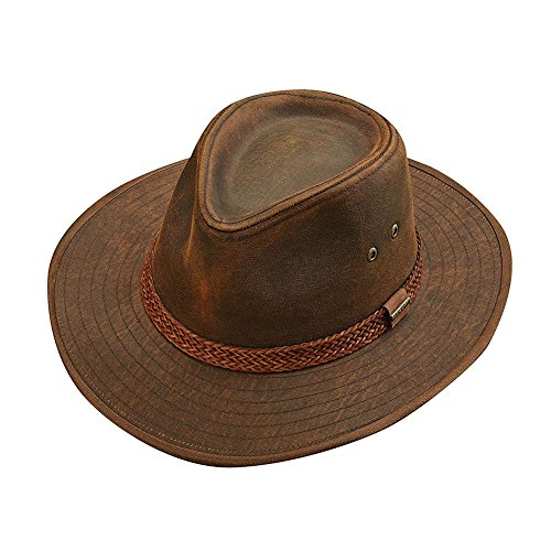 Distressed Cowboy Hat (Stetson Men's Distressed Twill Outback Hat, Brown, L)