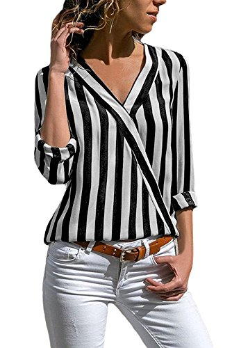 ac7744c4ae69 HOTAPEI Womens Casual V Neck Striped Chiffon Blouses Long Sleeve Button  Down Shirts Tops with Front