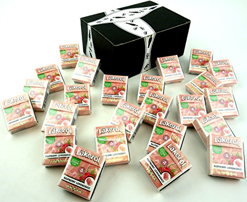 Läkerol Raspberry Lemongrass Sugarfree Pastilles, 0.8 oz Packages in a BlackTie Box (Pack of ()