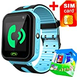 Kids Smart Watch Phone with Free SIM Card for Girls Boys GPS Tracker Locator Touch Camera Games Flashlight SOS Outdoor Digital Wrist Cellphone Watch Bracelet for Sport Camping Birthday Holiday (Blue)