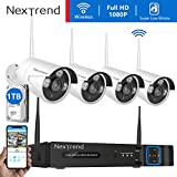 [Smoother Video] 1080P Security Camera System Wireless, NexTrend 8CH 1080P NVR Security Camera System with 4pcs Wireless Security Cameras for Home, 1TB Hard Drive Pre-Installed, Plug and Play