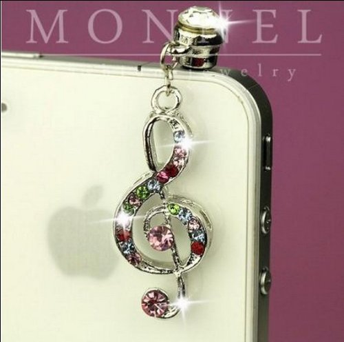 (Ip175 Luxury Crystal Music Note Anti Dust Plug Cover Charm for Iphone 4 4s)