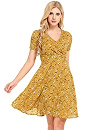 Meaneor Women's Floral Print Deep V Neck Casual Tunic Dress Midi Dress