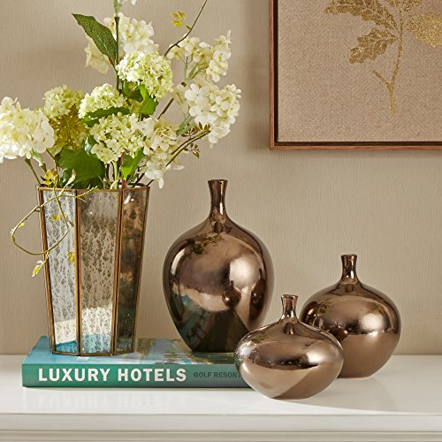 Ansen Metallic Bronze Vases for Decor, Decorative Vase Set, 3-Piece
