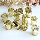 LA BELLEFÉE Glass Votive Candle holders set of 12-for wedding partise and Home Décor (Gold)