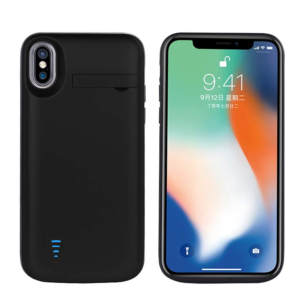RUNSY Battery Case Compatible with iPhone X/XS, 5000mAh Rechargeable Extended Battery Charging Case, External Battery Charger Case, Backup Power Bank Case, Support Wired Headphones (5.8 inch) Roger Electronics Samnyte D61