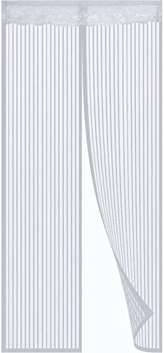 SODKK Magnetic Screen Door Curtain 88 x 106, White mesh Curtain, Automatically Closed Foldable Easy to Install, for Living Room Patio Door