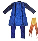Zaffron Boys' Designer Patterned Blue Kurta Set Indian Clothing 3 Piece Party Suit (24 (4-5 years))