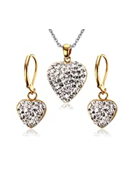 Stainless Steel Gold Plated White Rhinestone Heart Jewelry Set,Including Earring & Pendant Necklace
