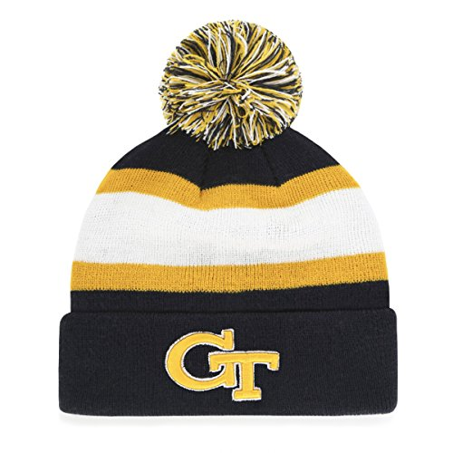 OTS NCAA Georgia Tech Men's Rush Down Cuff Knit Cap with Pom, Team Color, One Size (Georgia Tech Knit)