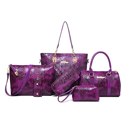 Women Handbag,Women Bag,KINGH Crocodile pattern PU Leather Tote Clutch Purse 6 PCS Set Bag 272 Purple