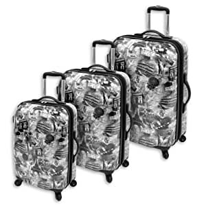 Amelia Earhart Luggage Passport 360 Hardside Collection 3 Piece Set, Black/White Print, One Size