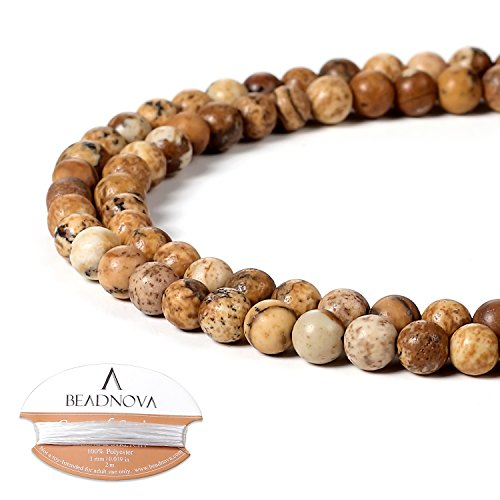BEADNOVA 4mm Brown Picture Jasper Gemstone Round Loose Beads for Jewelry Making (94-96pcs)