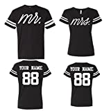 Mr Mrs Customized Couple Jerseys, Custom Names and Numbers Newlywed Anniversary Wedding Matching T-Shirts