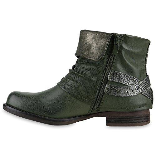 Stiefelparadies Damen Stiefeletten Biker Boots Schnallen Nieten Knöchelhohe Stiefel Leder-Optik Flandell Dunkelgrün Silber