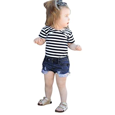 1f2918ec7af6 Minisoya 2Pcs Toddler Kids Baby Girls Summer Striped Tops T-Shirt Denim  Shorts Ripped Jeans Casual Outfits Set