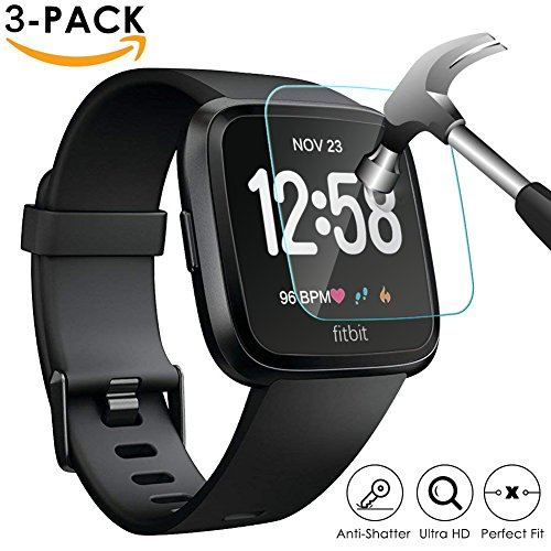 Kapoo [3-Pack] Fitbit Versa Screen Protector, Waterproof Tempered Glass Screen Protector for Fitbit Versa Smartwatch, [9H Hardness] [Crystal Clear] [Scratch Resist] [No-Bubble] from Kapoo