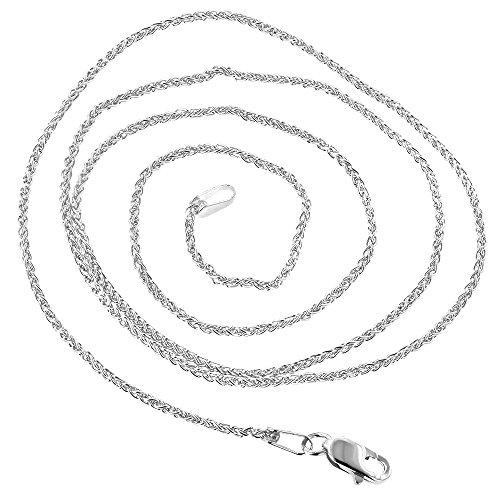 Luxurman 14K Solid White Gold 1.5mm Wide Round Wheat Chain 30