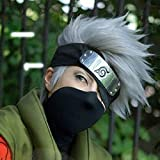 HOT! Hatake Kakashi Silver Gray Short Anime Cosplay CostumeHair Wig + headband