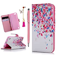 iPod Case iPod Touch 5 Case- MOLLYCOOCLE Stand Wallet Purse Credit Card ID Holders Magnetic Color Leaves Love Design PU Leather Ultra Slim Fit Flip Folio Cover for iPod Touch 5 5th Generation