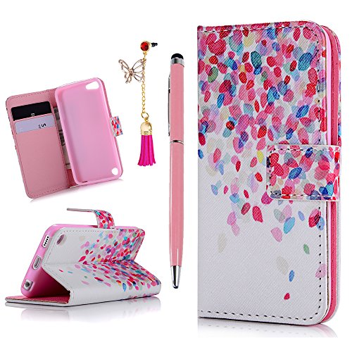 iPod Case iPod Touch 5 Case- MOLLYCOOCLE Stand Wallet Purse Credit Card ID Holders Magnetic Color Leaves Love Design PU Leather Ultra Slim Fit Flip Folio Cover for iPod Touch 5 5th Generation (Ipod Touch 5 Colors compare prices)