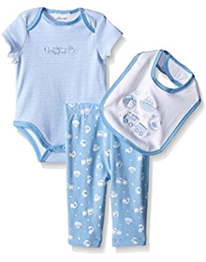 Baby Boys' Bodysuit and Pant Set with Bib