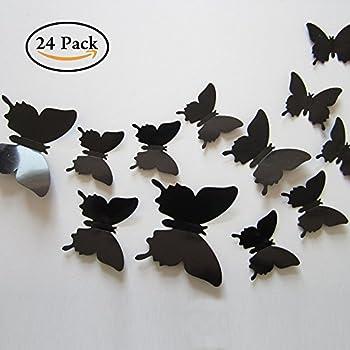 Amazon Black 24PCS 3D Butterfly Wall Stickers Decor Art