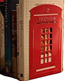 Big Promotion New Arrival A Pair of Retro British Style Telephone Booth Bookend Bookends (Red) B002